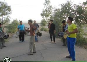 تمرینات گروه دمامه زنی کفّ العباس برای حضور در آیین های مذهبی اریسمان + تصاویر
